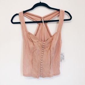 NWT FREE PEOPLE Peach Button Up Tank Top
